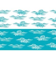 Ocean seamless borders vector image