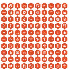 100 active life icons hexagon orange vector