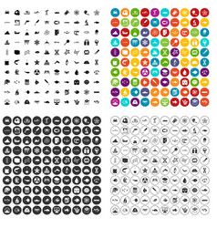 100 oceanology icons set variant vector