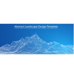 3d wireframe landscape vector