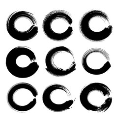 Abstract black circle textured ink strokes set vector
