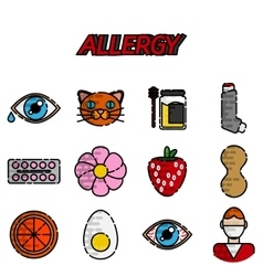 Allergy flat icons set vector image
