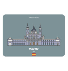almudena cathedral in madrid spain vector image