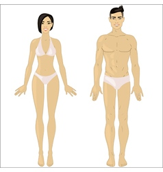 Asian woman and man in underwear vector image