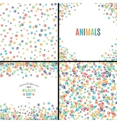 background with paw prints set patterns vector image