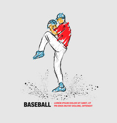 Baseball pitcher getting ready to throw ball vector