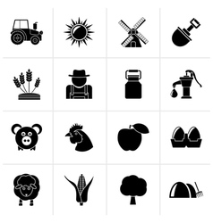 Black Agriculture and farming icons vector