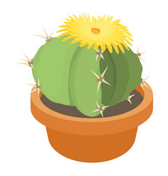blooming cactus icon cartoon style vector image