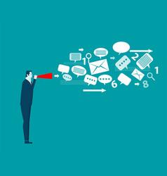 Businessman talk emotionally in paper trumpet vector