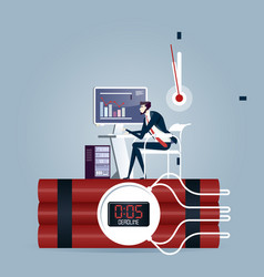 businessman trying to finish the job on time vector image