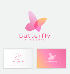 Butterfly logo transparent elements spa lingerie vector