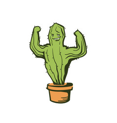 Cactus show muscle biceps color cartoon vector