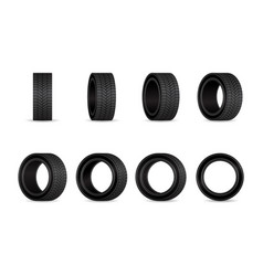 car tires set different angles wheels isolated vector image