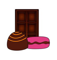caramel chocolate bar macarons sweet dessert vector image