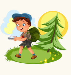 cartoon kids following the compass in forest vector image