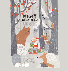 cartoon santa claus with animals in winter vector image