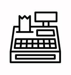 Cash register black friday related line icon vector