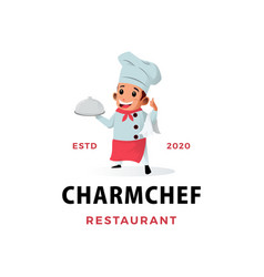 chef boy restaurant mascot character logo icon vector image