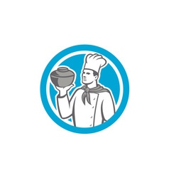 Chef cook holding up pot retro vector