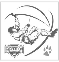 Climbers and Mountain climbing emblem vector image