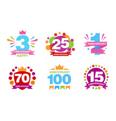 colorful anniversary labels collection 3 25 1 vector image