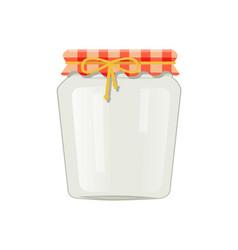 Conservation glass jar with textile decorated lid vector