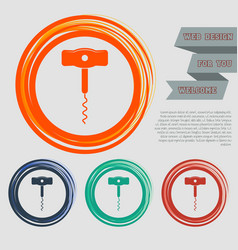 Corkscrew icon on the red blue green orange vector