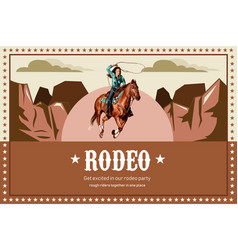 Cowboy frame design with horse woman hill vector