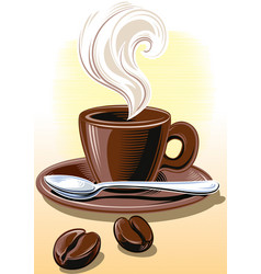 Cup of steaming coffee vector