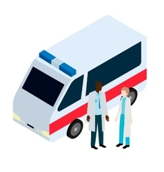 Doctor and nurse near ambulance vector image