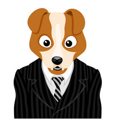 dog in striped suit with tie vector image