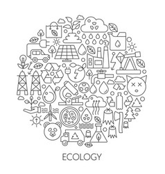 ecology technology icons in circle - concept line vector image