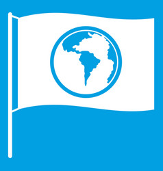 Flag with world planet icon white vector