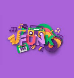 Funk afro music quote papercut musical icon vector