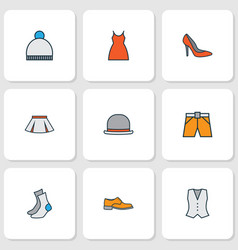 garment icons colored line set with waistcoat vector image