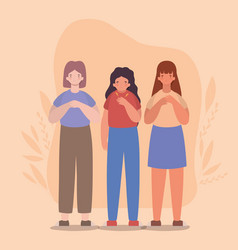 Girls cartoons and one with shortness breath vector