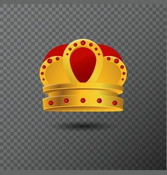 Golden crown icon with red stones luxury vector
