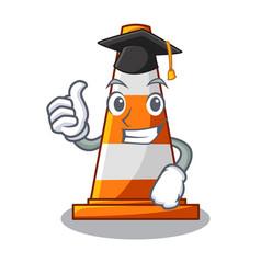 Graduation traffic cone on made in cartoon vector