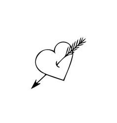Heart with arrow hand drawn in scandinavian style vector