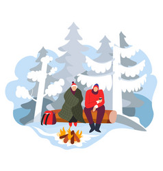 hikers sitting near campfire in winter forest vector image