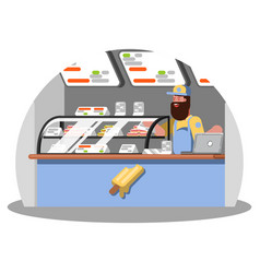 Ice cream worker on food court vector