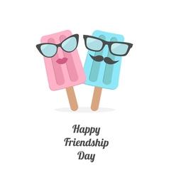 Icecream couple Happy friendship day vector
