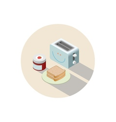 Isometric of toaster and breakfast with toasts and vector