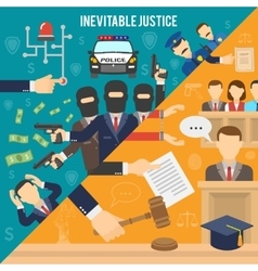 Justice Flat Color Concept vector