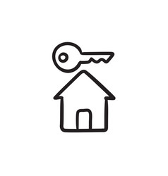 Key for house sketch icon vector