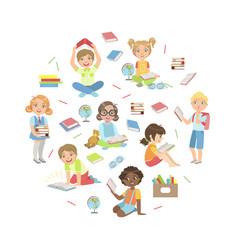 kids reading books studying and enjoying vector image