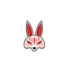 kitsune mask japanese traditional mask vector image