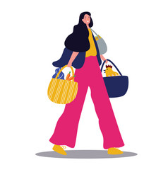lady with groceries walking with bag vector image
