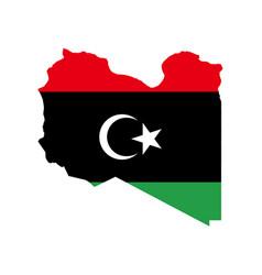 Libya flag and map vector