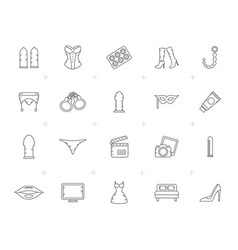 Line sex shop erotic and temptation icons vector